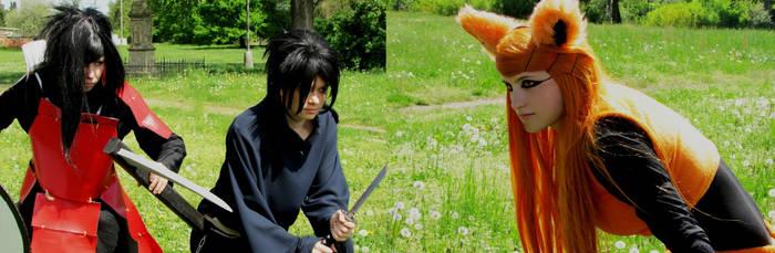 Uchiha brothers vs. Kurama by xAxRikkudouCosplay