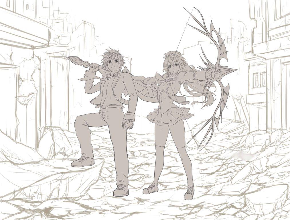 Hideki and Kiritei WIP by DomDozz