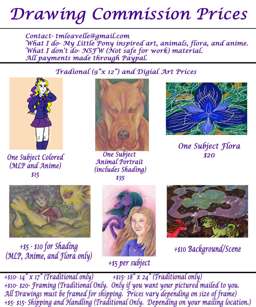 Tiffany Leavelle's New Commission Prices by Pristine1281