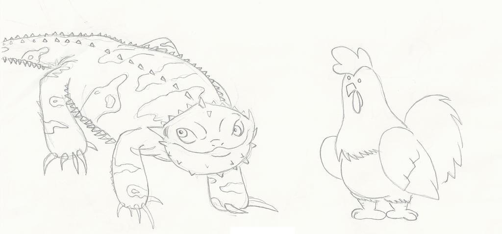 Bearded DRAGON + Chicken! by GECKO-Nuzlockes