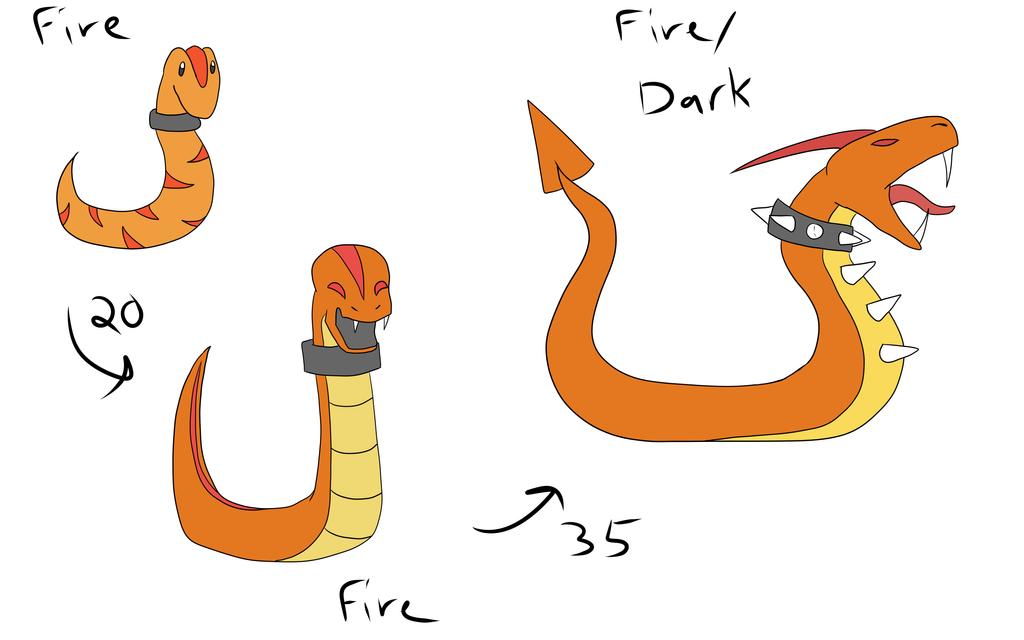 Fakemon redraws - Fire starters by GECKO-Nuzlockes