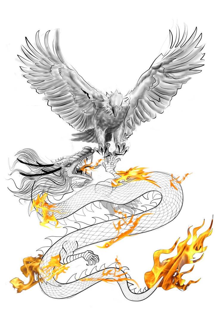 Eagle Vs Dragon Drawing eagle vs dragon by ngu...