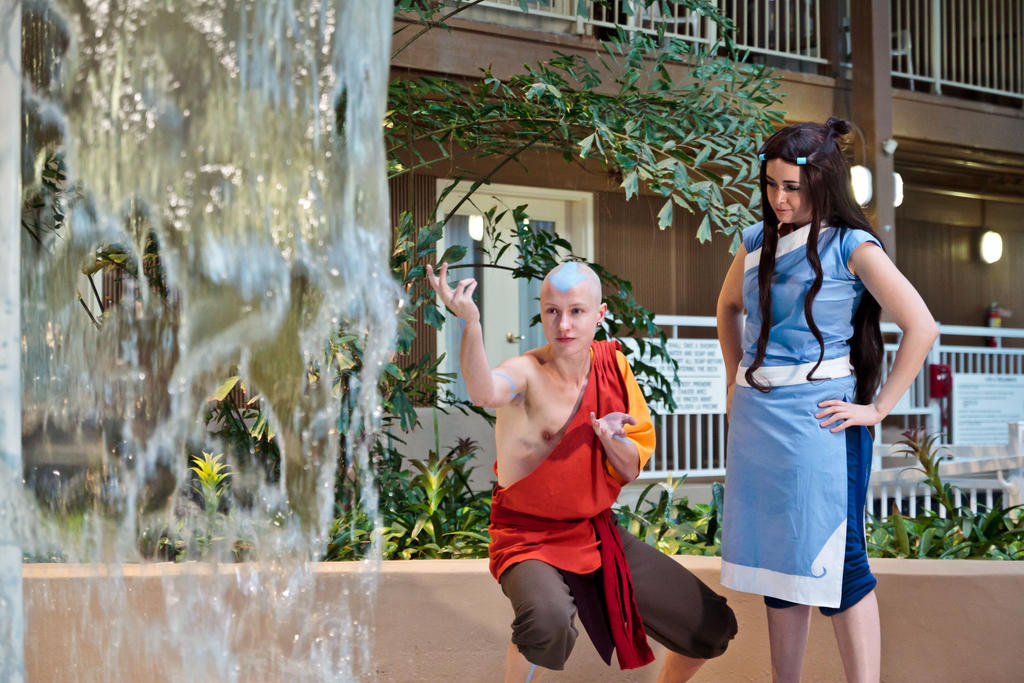 Aang and Katara- Waterbending Lessons by twinfools
