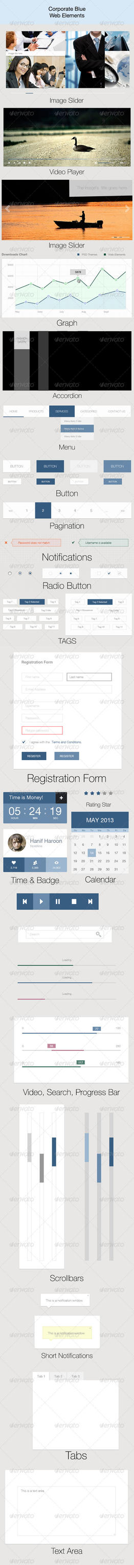 Corporate Blue Web Elements by hanifharoon