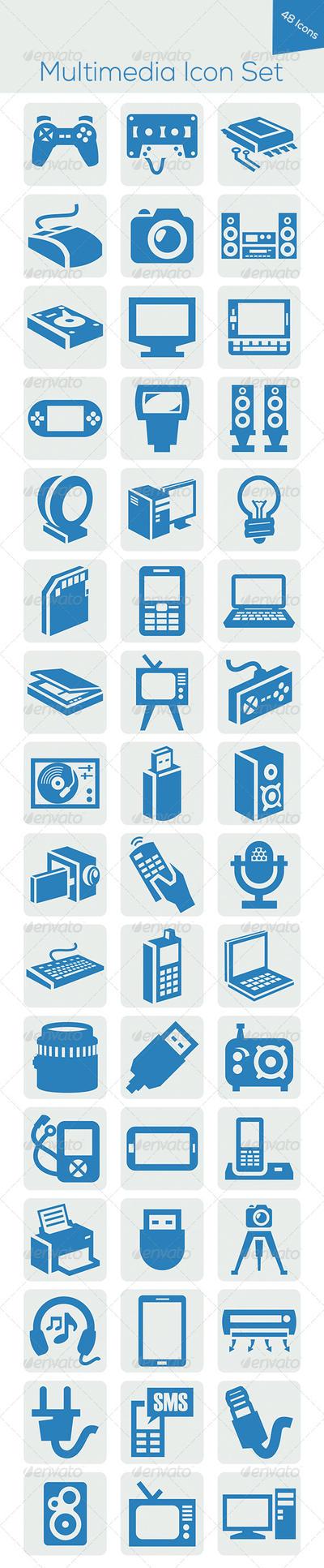 Multimedia Icon Set by hanifharoon