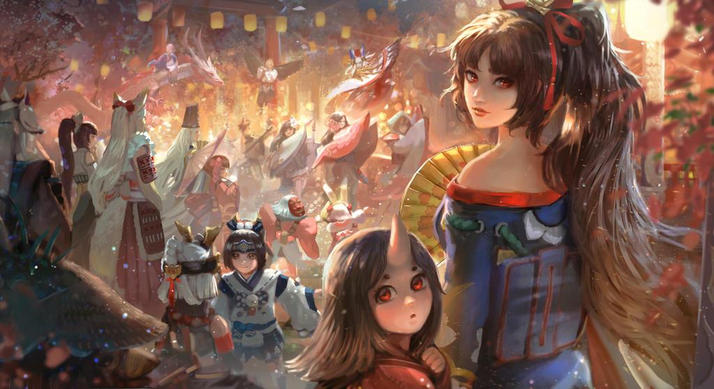 Onmyoji Fanart Contest_Festive Night by andyliongart