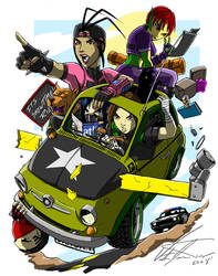 Ninja Road Trip Color by SHADOBOXXER