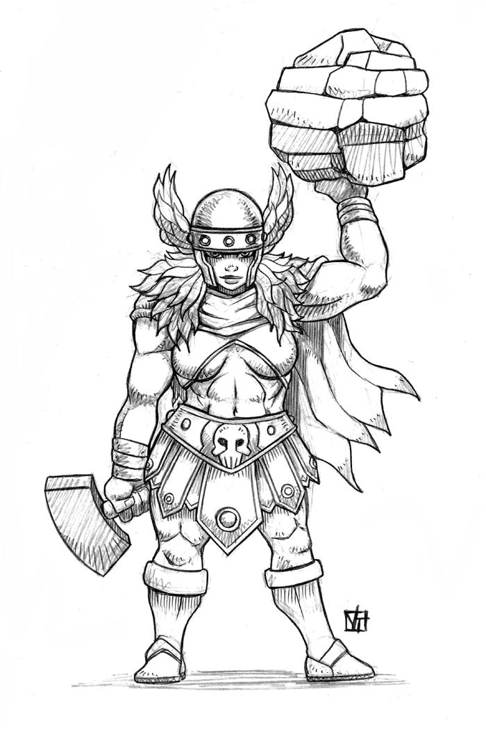 Female Dwarf Warrior by SHADOBOXXER