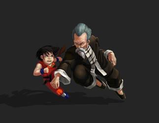 Goku vs Jackie chun by raynnerGIL