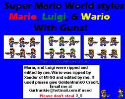 Super Mario World Gun Sprites by GoldenfrankO