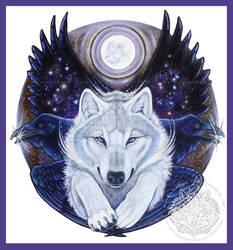 Angel Wolf Raven Shield by ssantara