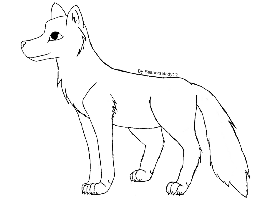 Free Wolf Lineart by Seahorselady12