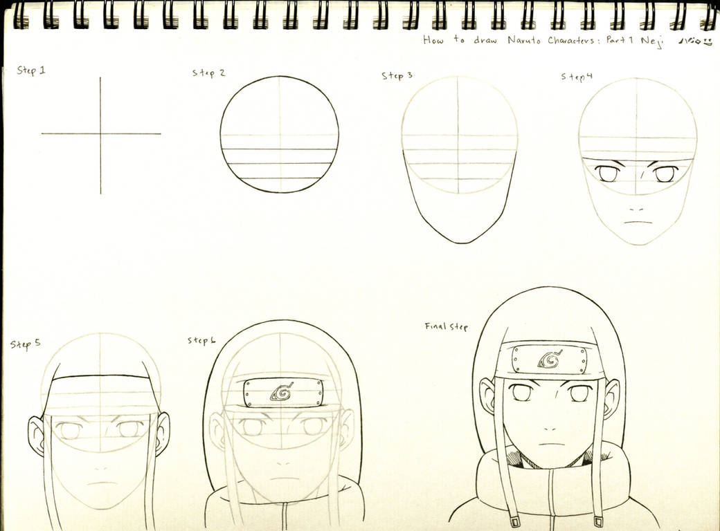 How to draw naruto characters part 1 neji by byakusharingan1017