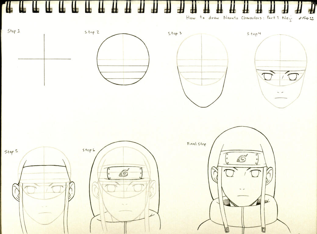 How to draw naruto characters part 1 neji by for How to doodle characters