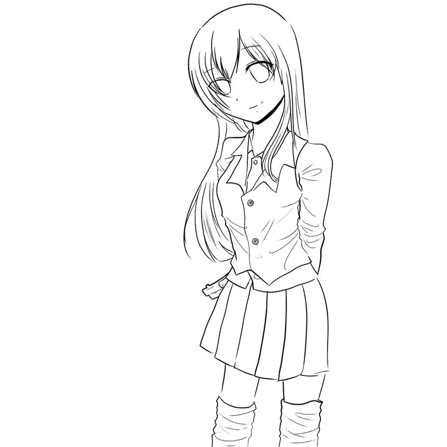 Anime Girl Lineart : Anime girl lineart by kuroro on deviantart