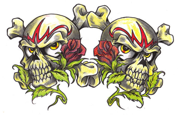 Double Skull an Roses.. - chest tattoo