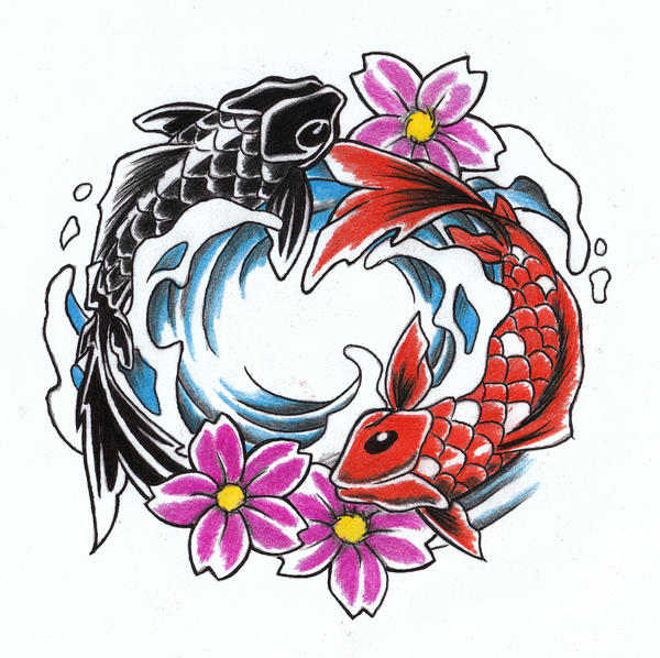 Koi ying an yang by wikkedone on deviantart for Live dragon koi fish