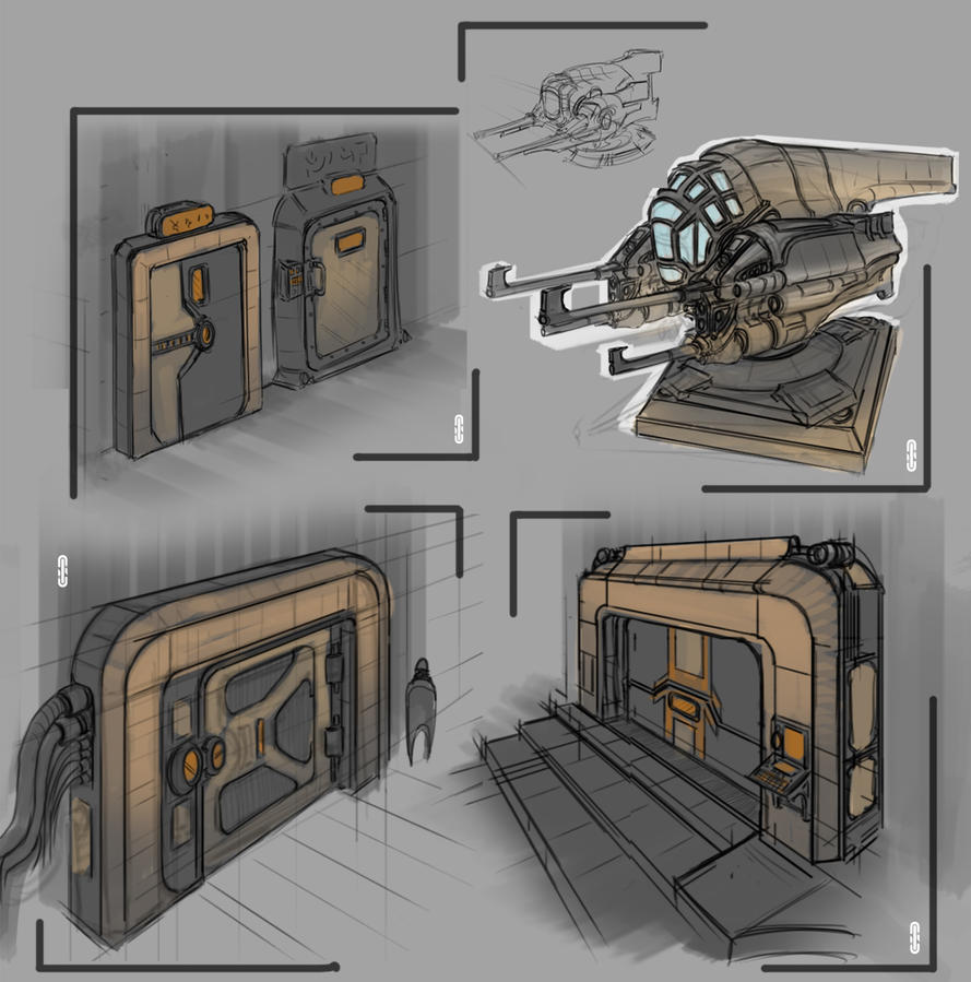 Doors and turret concepts by thefirstnotorian on deviantart - Several artistic concepts for main door ...