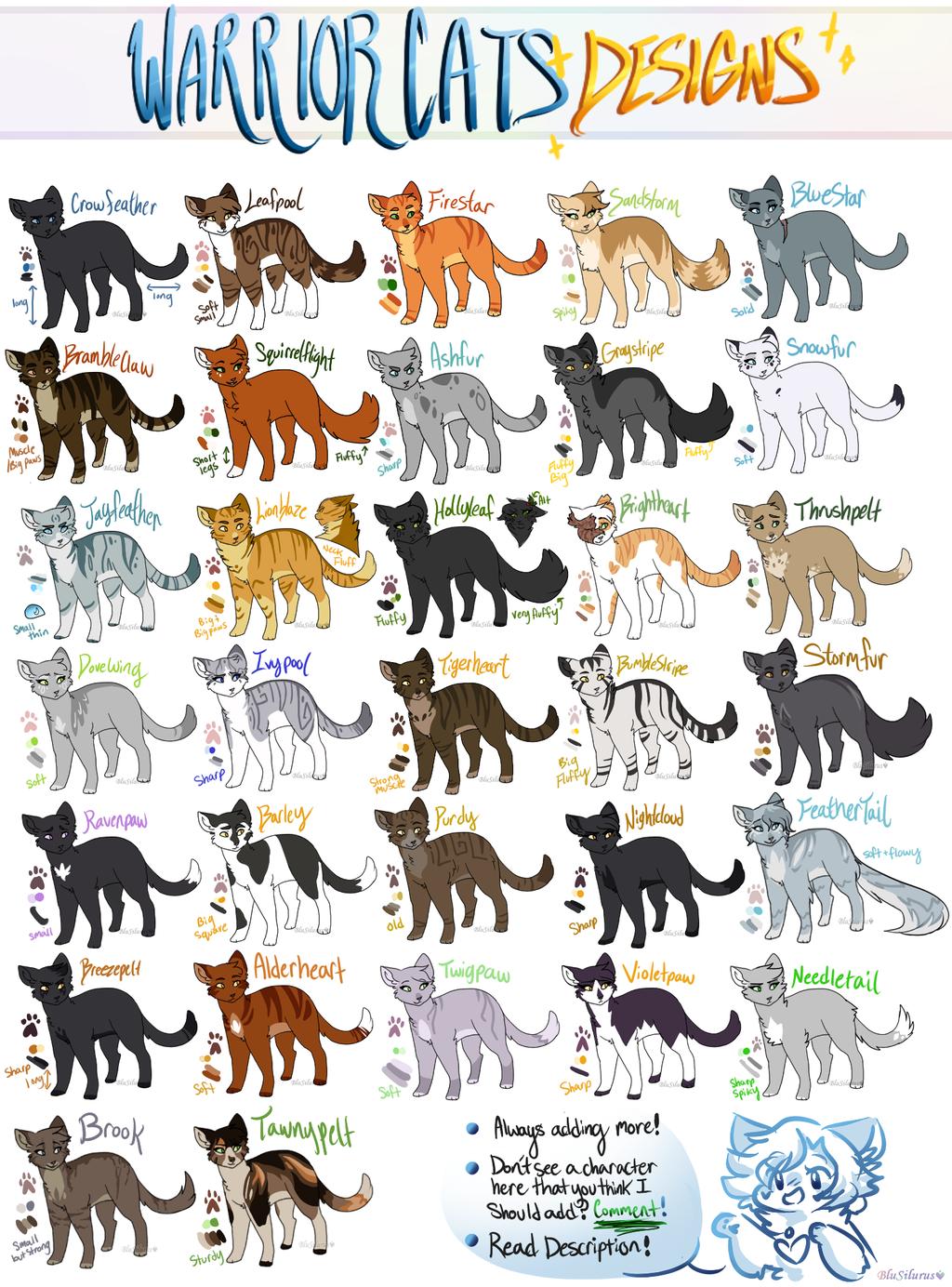 warrior cats designs by blusilurus on deviantart