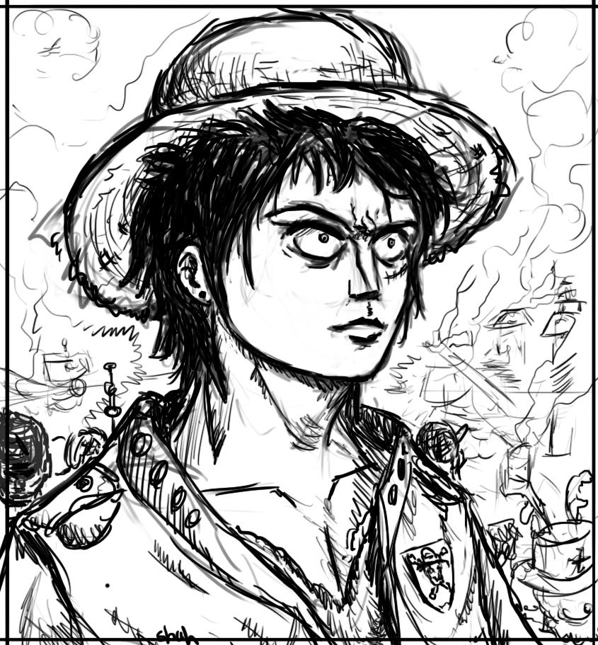 Line Art Year 5 : Luffy in years line art by ircss on deviantart