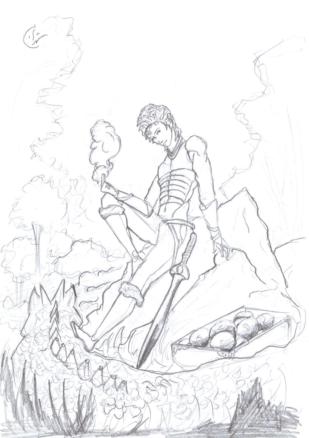 Sketches done in school - Eragon the Dragon rider by IRCSS