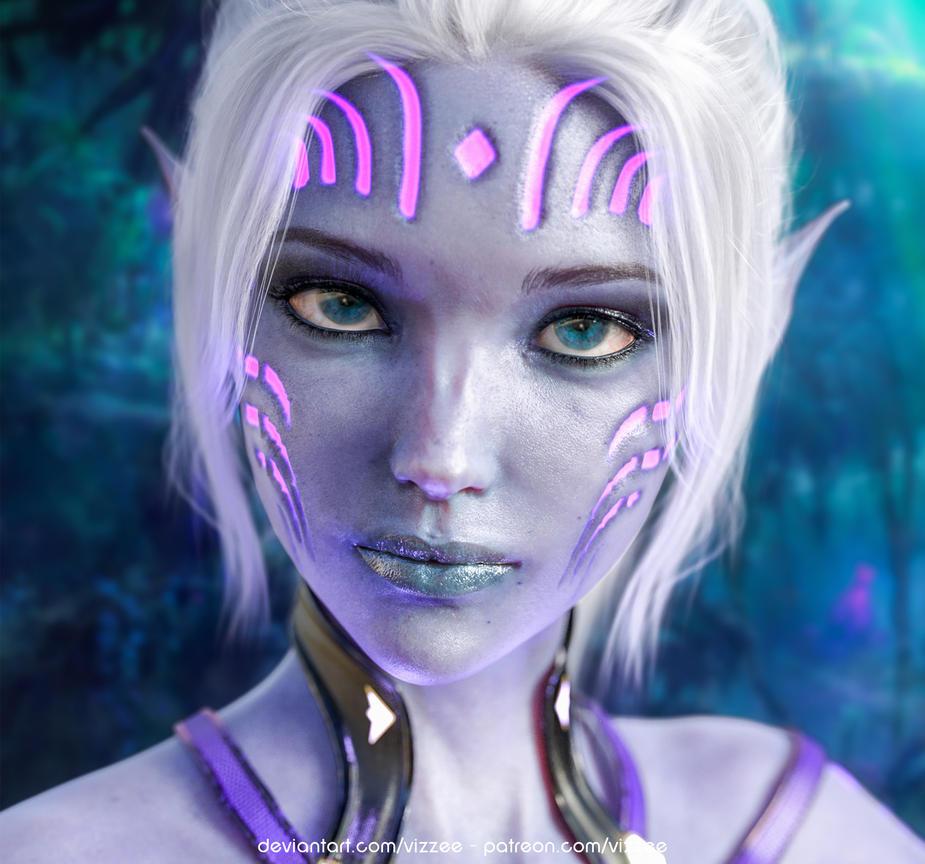 Firah (Dark Elf) Portrait - work in progress by Vizzee