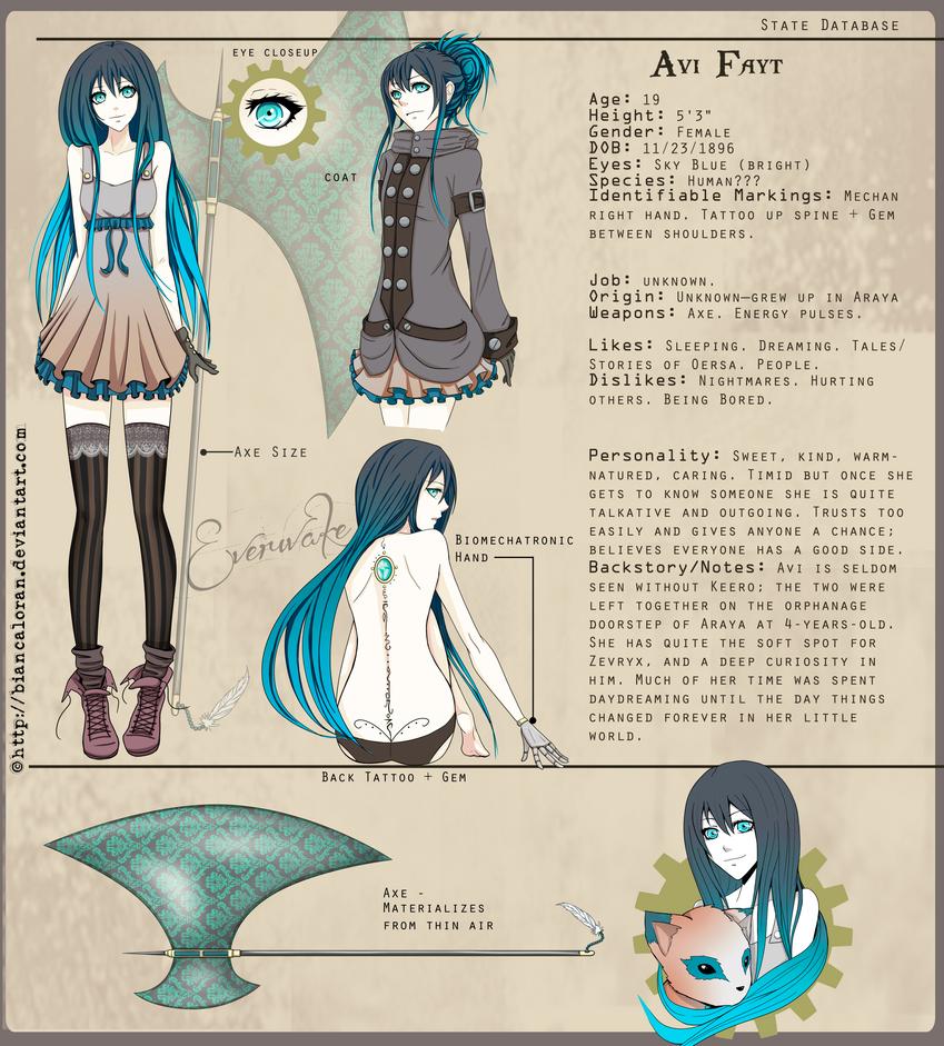 Avi Fayt Character Sheet by biancaloran