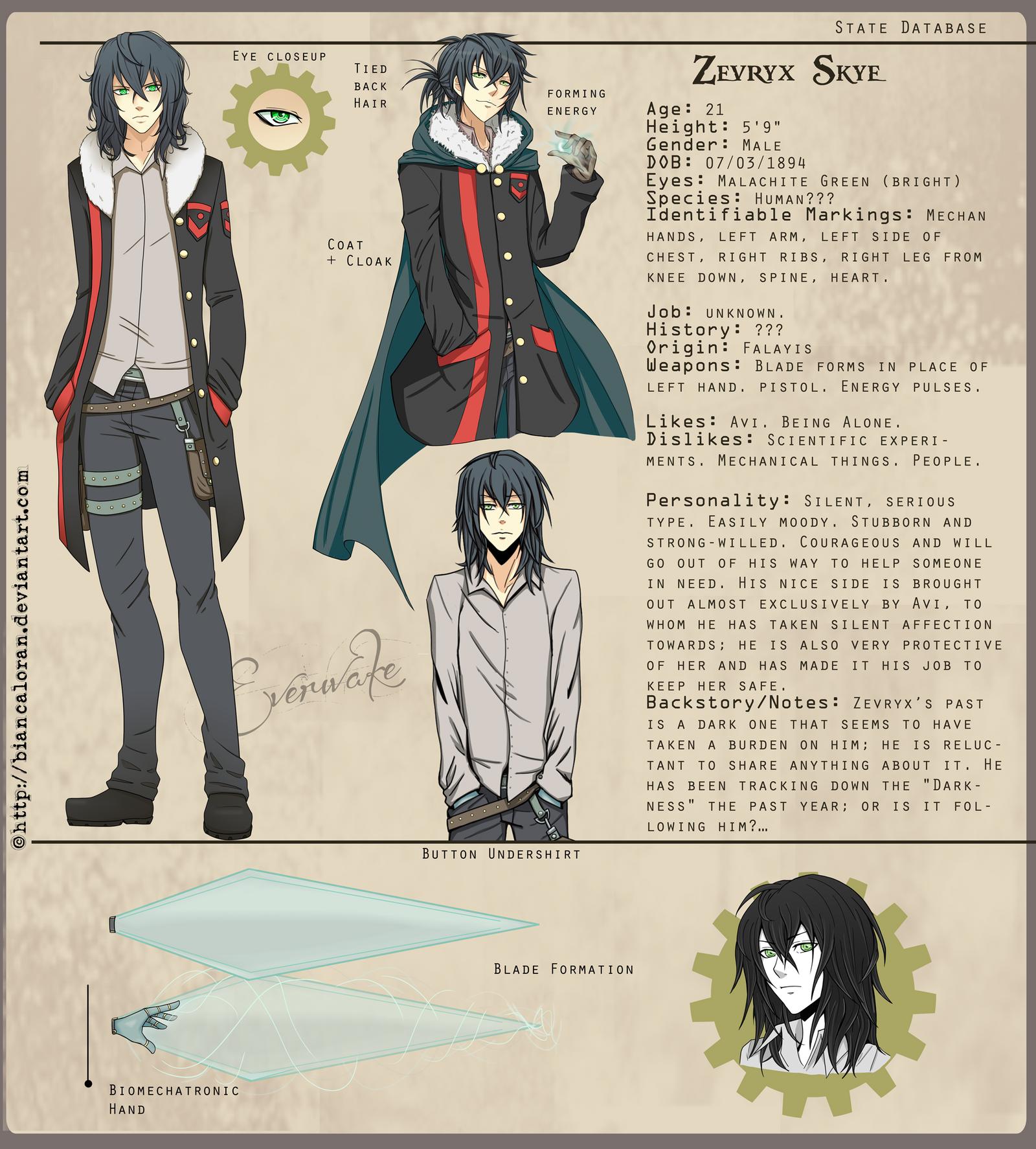 Zevryx Skye - Character Sheet by biancaloran