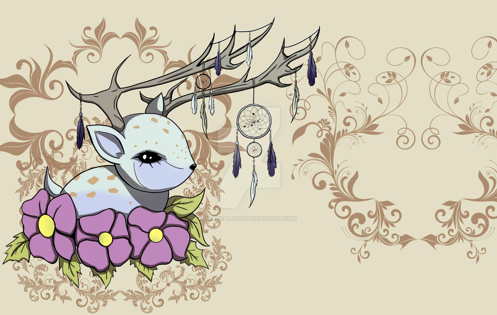 Dreamcatcher Deer by biancaloran