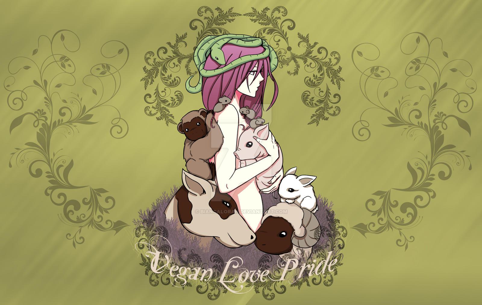 Vegan Girl Love Pride by biancaloran