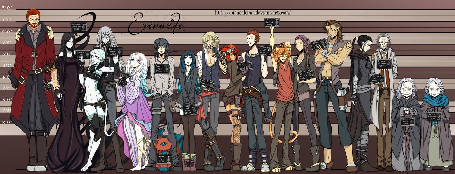 Everwake Character Lineup by biancaloran