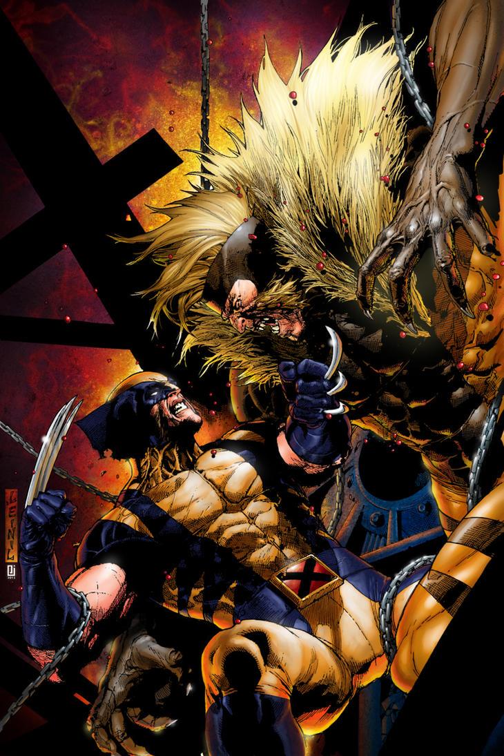 Wolverine vs Sabretooth by PeejayCatacutan