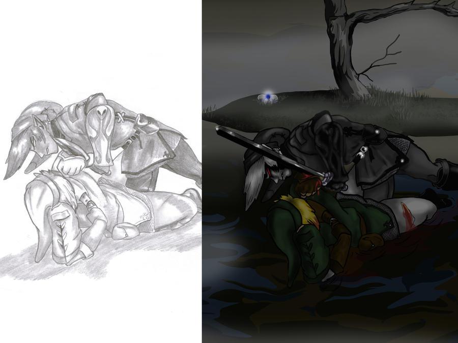 Link vs Dark link - pencil to digital colour