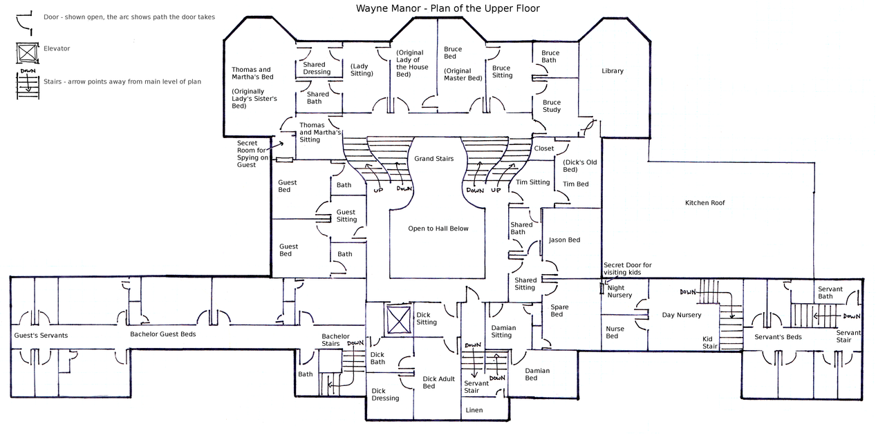Wayne Manor - Upper Floor Plan by geckobot on DeviantArt