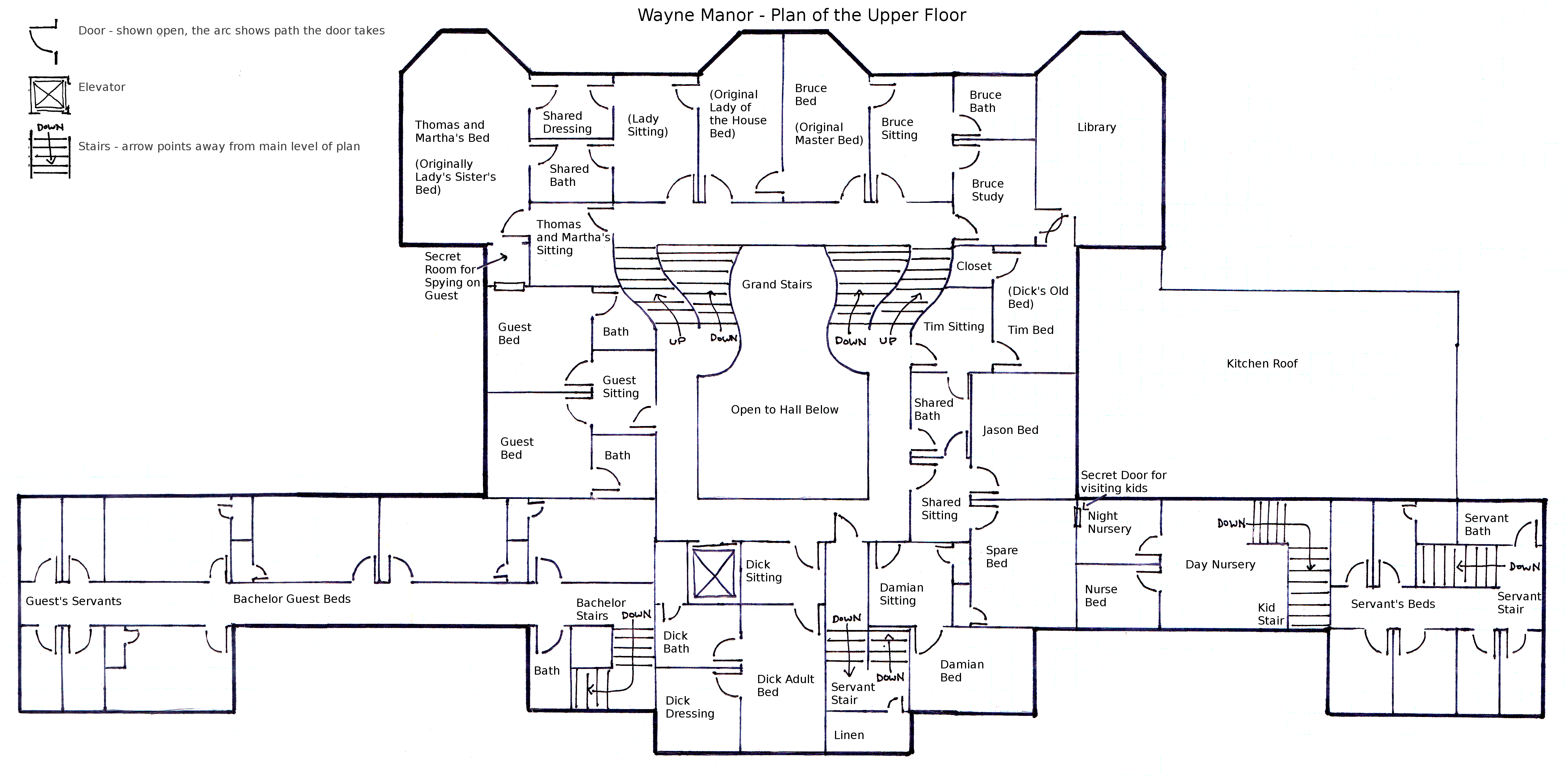 Wayne Manor Upper Floor Plan By Geckobot On Deviantart