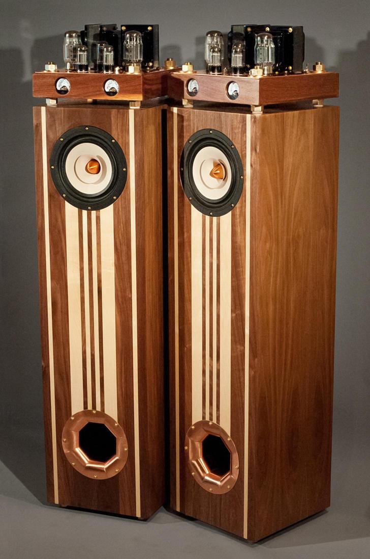 carvings on speakers The Emotiva Lounge