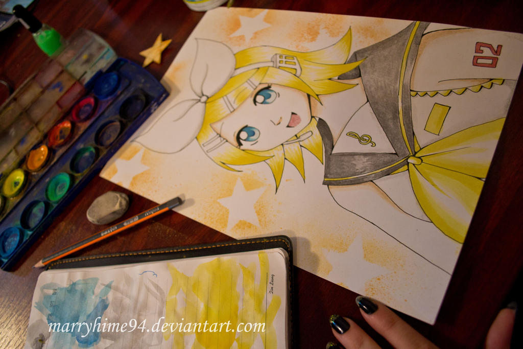 Kagamine Rin watercolor by Marryhime94