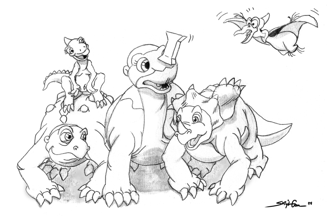 Here comes the gang (The Land Before Time) by siloru on DeviantArt