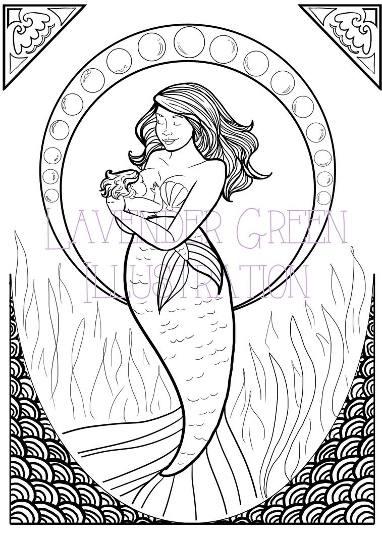 Coloring Page - Serene Siren No. 01 by LavenderGreenTea