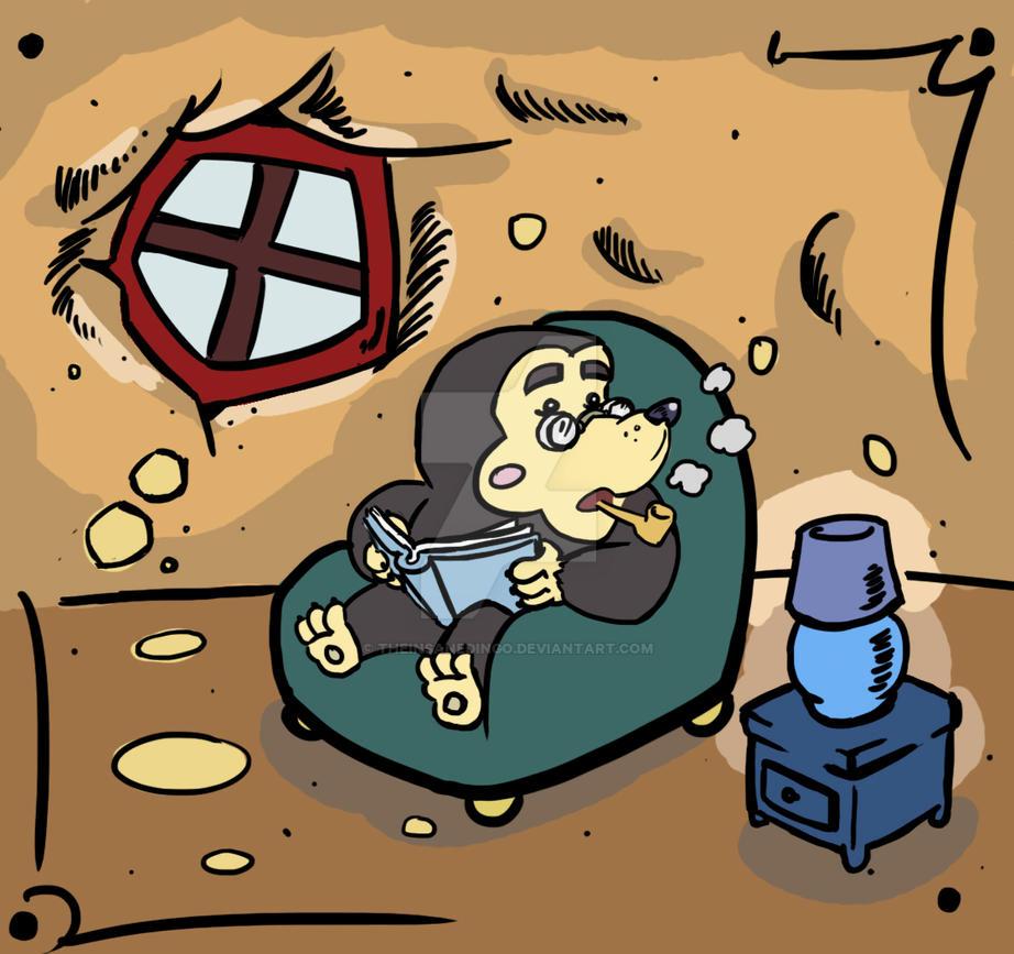Mole in its underground home by TheInsaneDingo