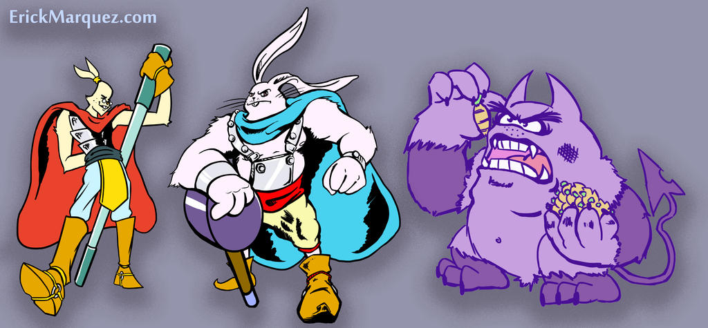 Bunny guards and the charrot monster by TheInsaneDingo