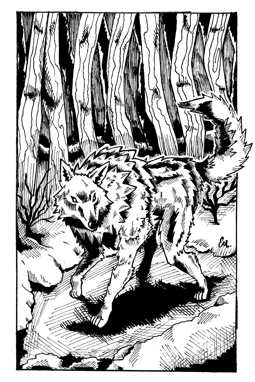 Gray wolf in the woods by TheInsaneDingo