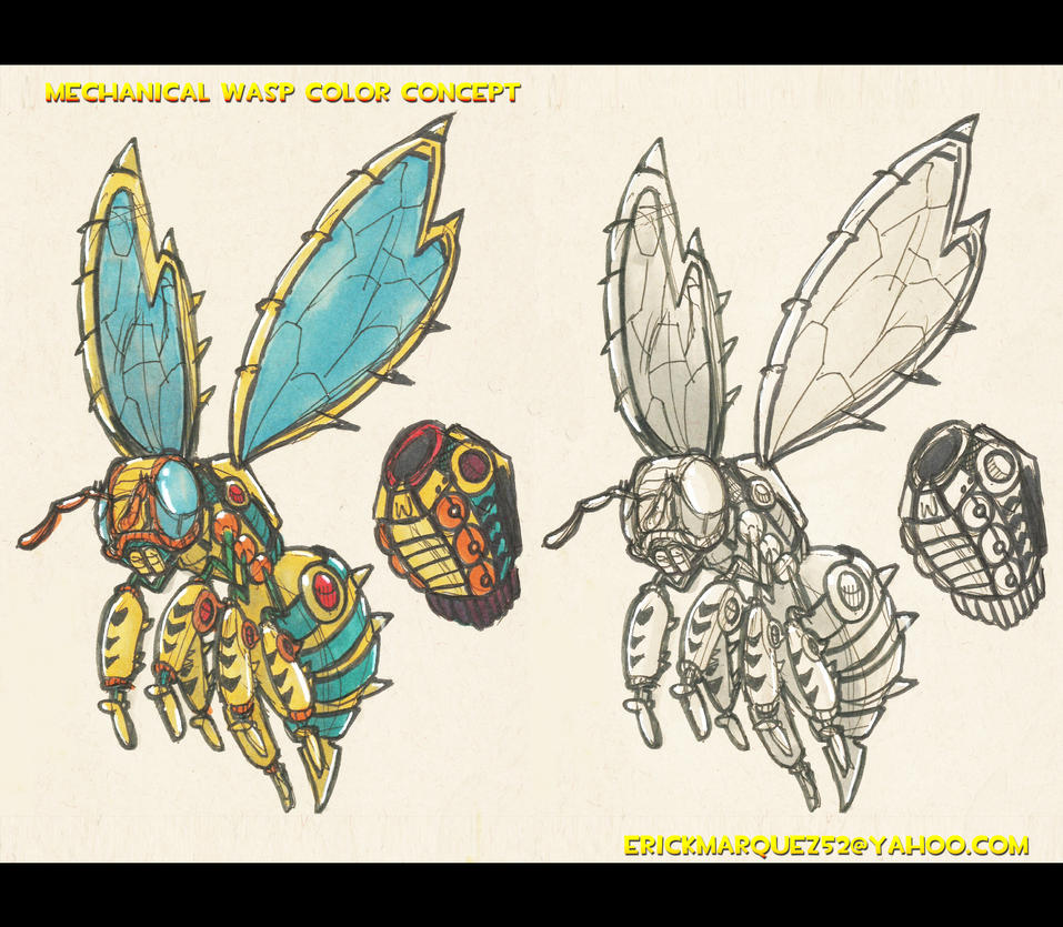Wasp Sketch Colored Concept by TheInsaneDingo