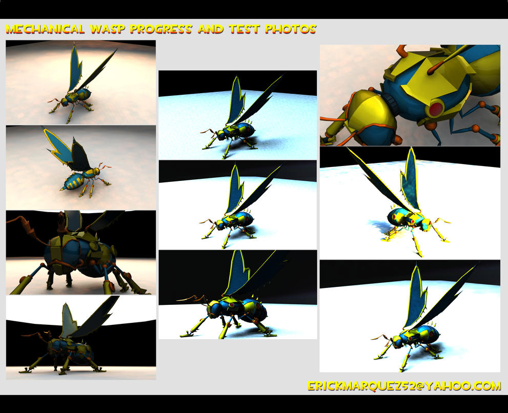 3d Wasp Progress Collage by TheInsaneDingo