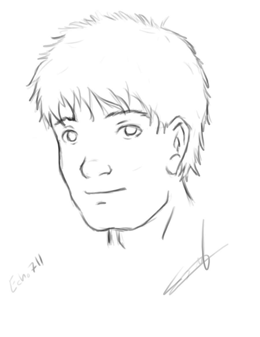 Male Face Sketch by echo711