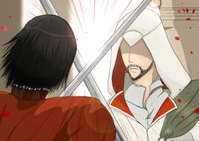 Ezio Auditore VS Cesare Borgia by KC-Project