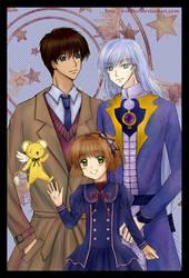 Touya, Yue, Sakura and Kero-chan at Christmastime