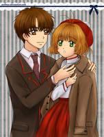 Syaoran puts his coat on Sakura