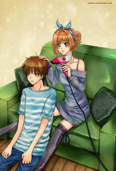 Living Together: Sakura Blow-drying Syaoran's Hair