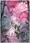 Espeon and Umbreon at the bamboo grove